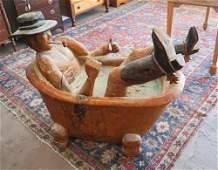 SC Carved Live Oak Cowboy In Bathtub from Yesterdays