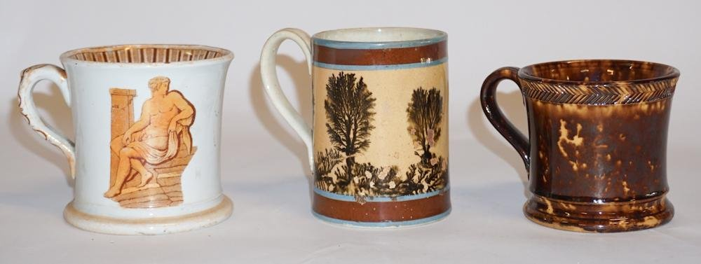 Collection Antique Earthenware Pottery Cups