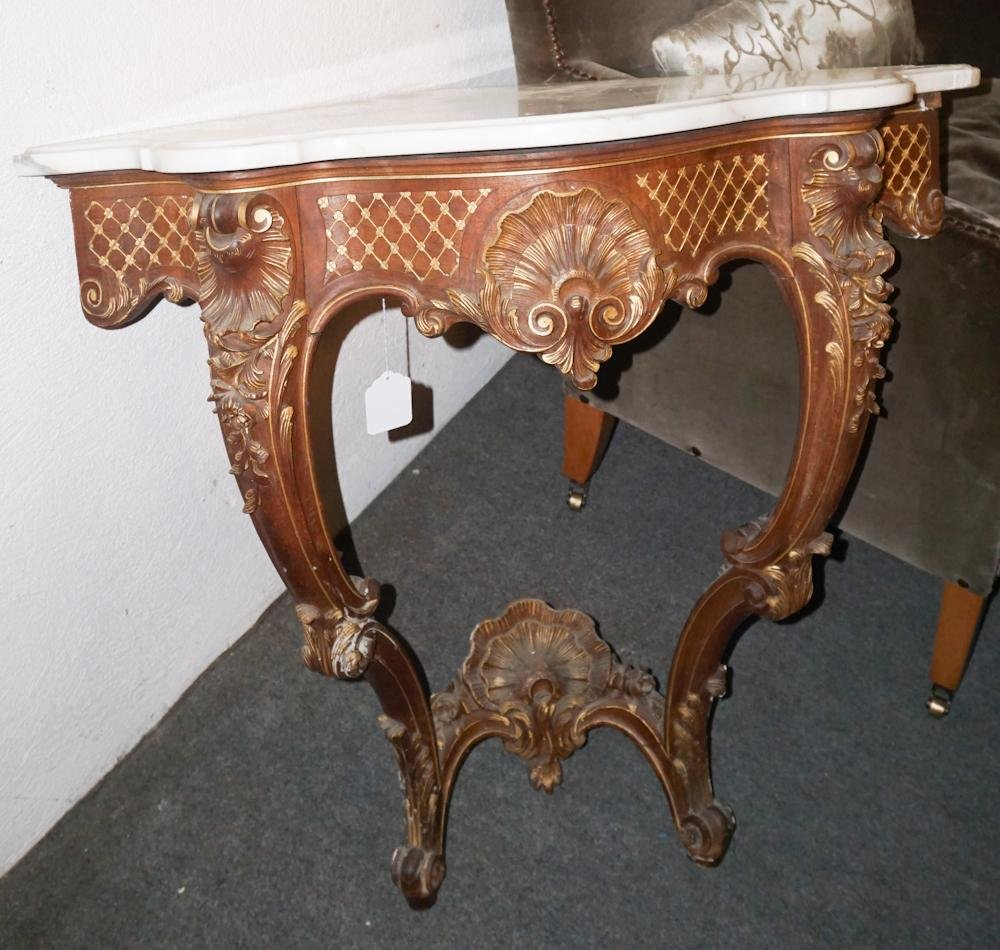 Antique French Rococo Marble Top Corner Stand