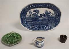 Antique English Creamware Platter  Assorted Vesse