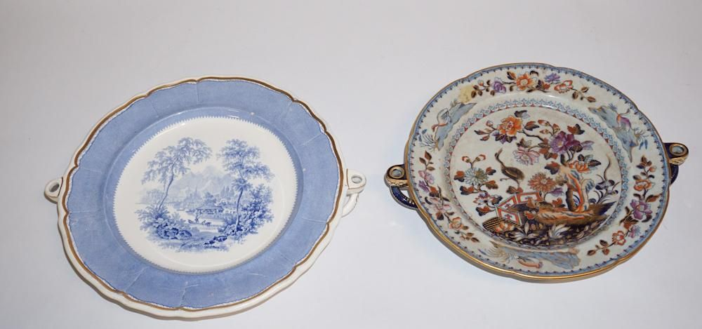 Two Antique Davenport Porcelain Warming Dishes