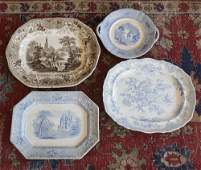 Four Antique Davenport Porcelain Serving Platters