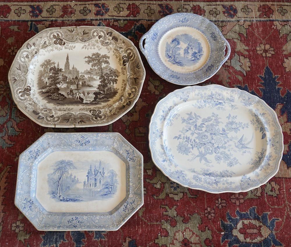 Four Antique Davenport Porcelain Serving Platters