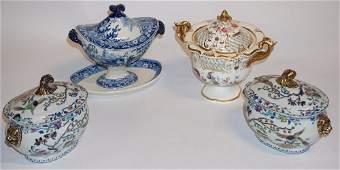 Four Antique Davenport Porcelain Sugar Bowls