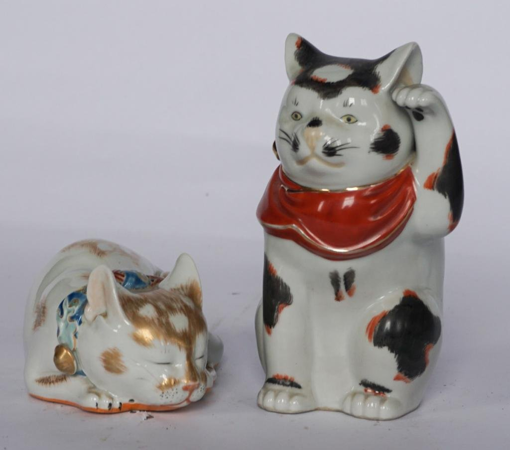 Two Vintage Chinese Export Porcelain Cats