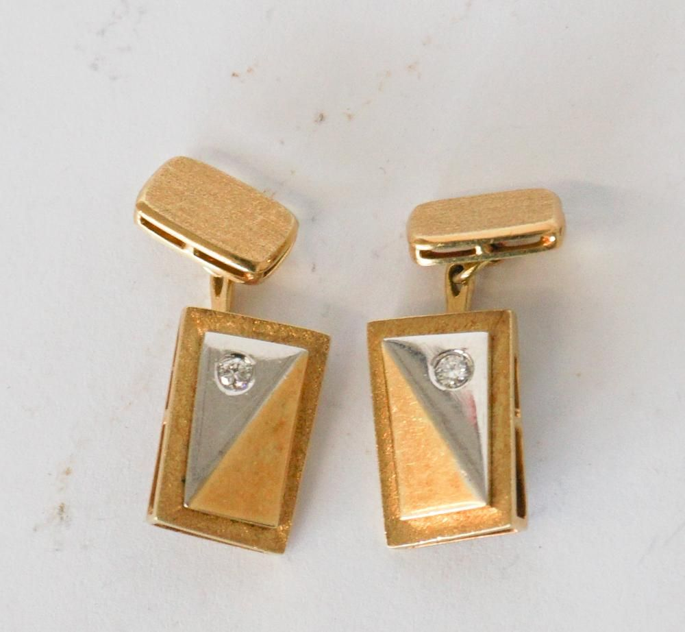 Two Pair Deco 18k Gold & Diamond Cufflinks