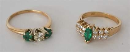 Two Ladies 14k Gold Diamond  Emerald Rings