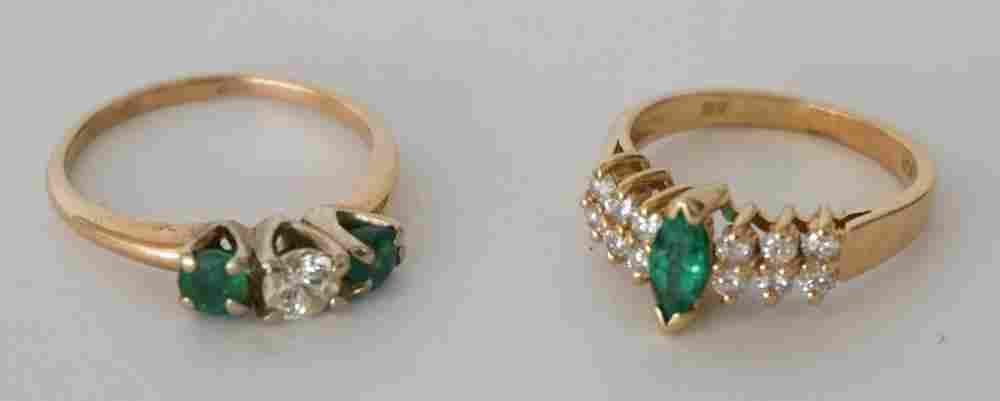 Two Ladies 14k Gold Diamond & Emerald Rings