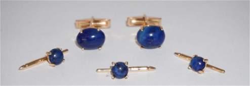 Set 14k Gold  Lapis Lazuli Cufflinks  Buttons