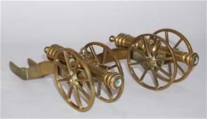 Pair Vintage British Brass Desk Top Signal Cannons