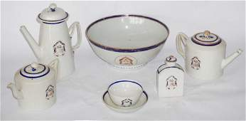 Set Antique Chinese Export Armorial Porcelain