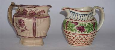 Two Antique English Pearlware Pitchers