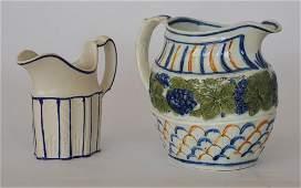 Two Antique English Creamware Pitchers