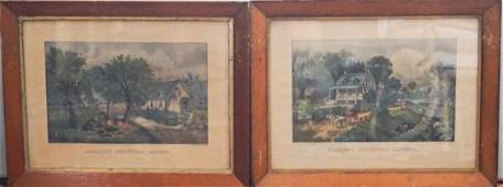 Two Currier and Ives Hand Colored Prints