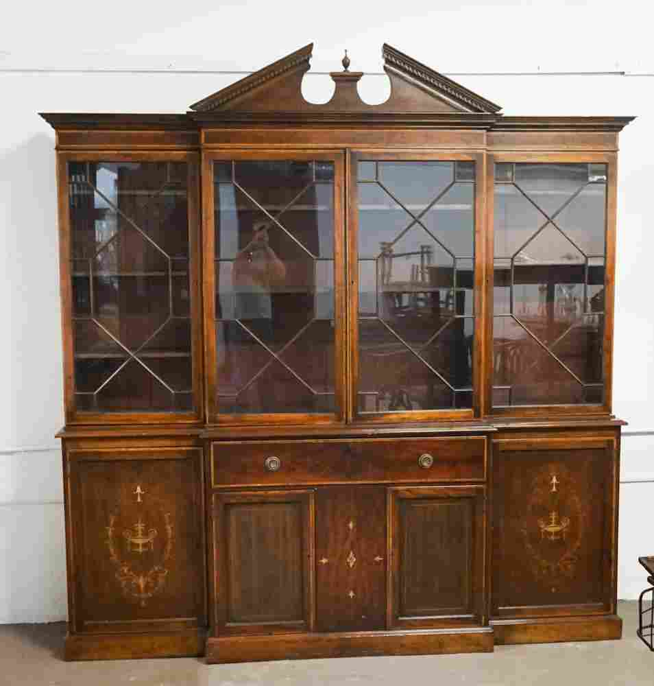 Edwardian Mahogany Breakfront Bookcase & Desk