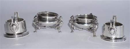 Two Pair of Antique Silver Master Salts