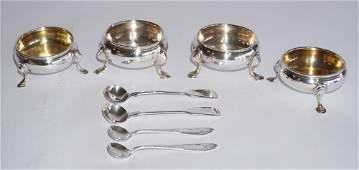 Two Pair British George III Silver Master Salts