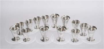 Two Sets of Sterling Silver Whiskey Snifters