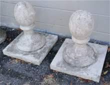 Pair Antique Cast Stone Garden Garniture
