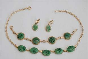 14k Gold & Carved Jade Jewelry Suite