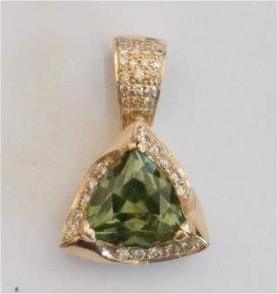 8.5 mm Demantoid Garnet & Diamond Gold Pendant