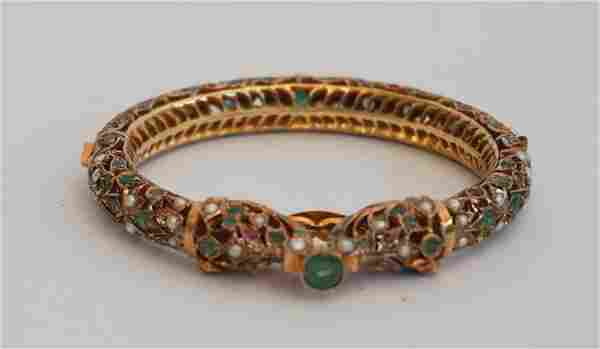Indian 22 K Gold, Emerald & Pearl Bangle Bracelet