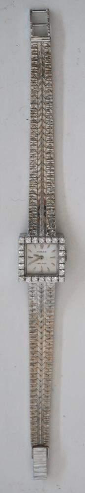 Ladies 18k White Gold & Diamond Rolex Wrist Watch