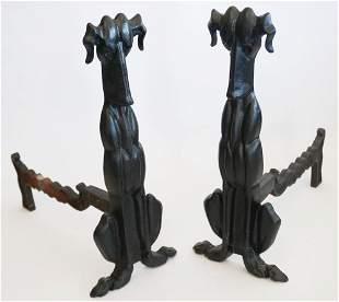 Pair Art Deco Sporting Cast Iron Fire Dog Andirons