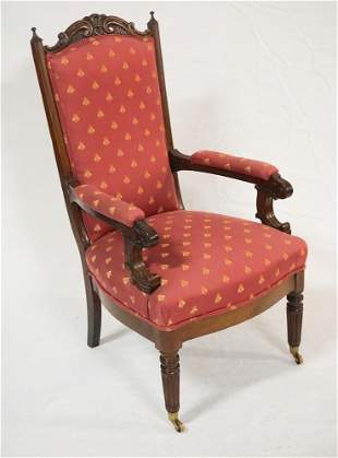Classical Carved Mahogany Open Arm Easy Chair