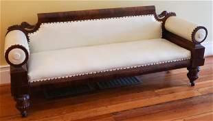 American Classical Carved Figured Mahogany Sofa