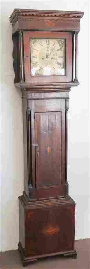 British George III Inlaid Mahogany Tall Case Clock