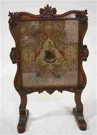 Rococo Revival Rosewood Needlepoint Firescreen