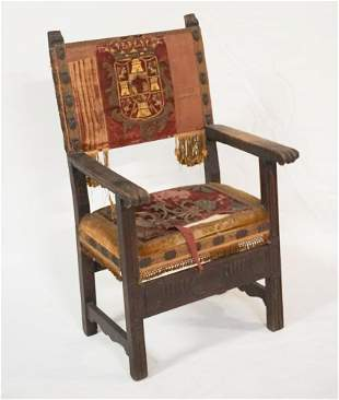 Period Elizabethan Carved & Upholstered Armchair