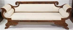 American Classical Carved & Figured Mahogany Sofa