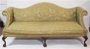 Chippendale Style Carved Mahogany Camel Back Sofa