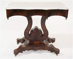 Classical Mahogany Marble Top Console Table
