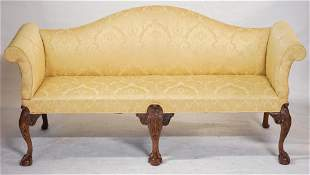 Chippendale Style Mahogany Camel Back Settee