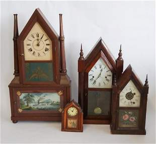 Four Antique Mahogany Cathedral Mantle Clocks