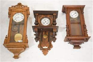 Three Antique German Wall Regulator Clocks