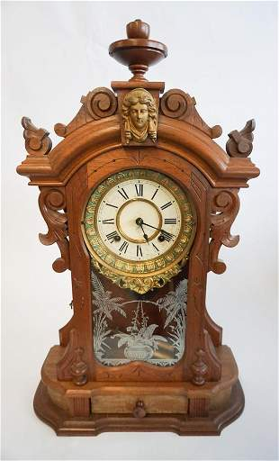 Rococo Revival Carved Walnut Clock by Ansonia