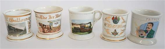 Collection Five Antique Shaving Mugs