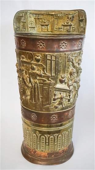 Antique Pressed Brass & Copper Umbrella Stand