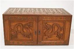 Antique Chinese WWII Carved Sea Captain's Chest