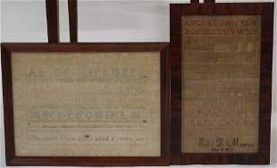 Two Antique Framed Girlhood Needlework Samplers
