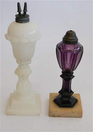 Two Early American Pressed Glass Fluid Lamps