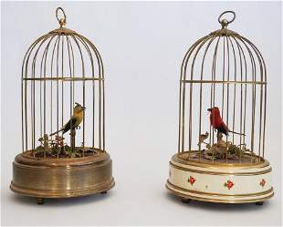 Vintage German Automaton Birds in Cages