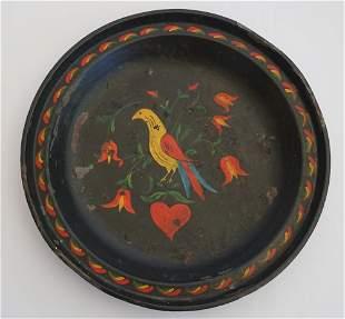 Antique Pennsylvania Dutch Tole Painted Metal Dish