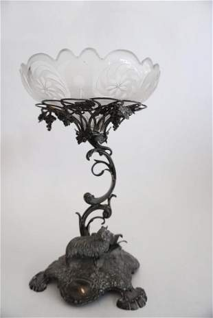 Antique Silver Plate & Cut Crystal Centerpiece