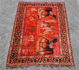 Handsome Vintage Persian Tribal Pictorial Carpet