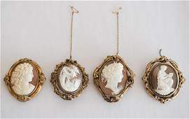 Four Antique Victorian Carved Shell Cameo Brooches